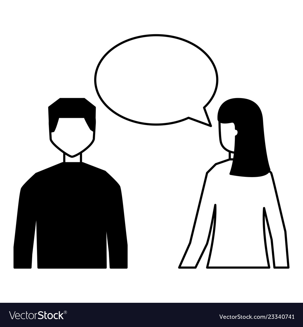 man and woman talking speech bubble